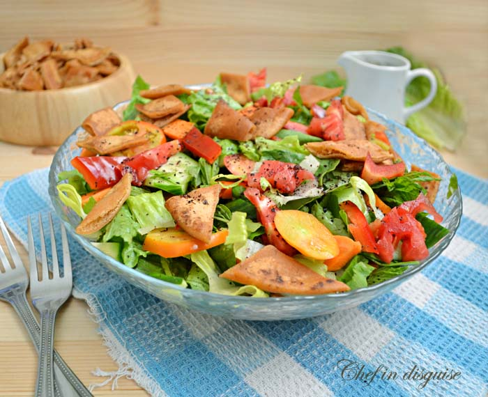 Fattoush salad recipe (middle eastern bread salad) – Chef ...