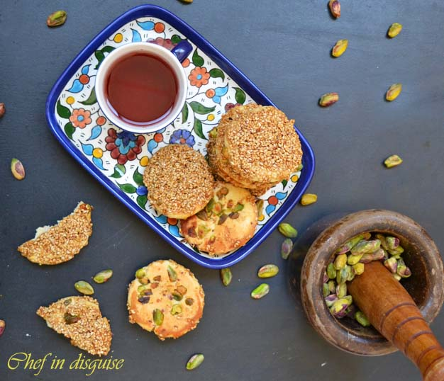 barazek cookies with pistachio and sesame