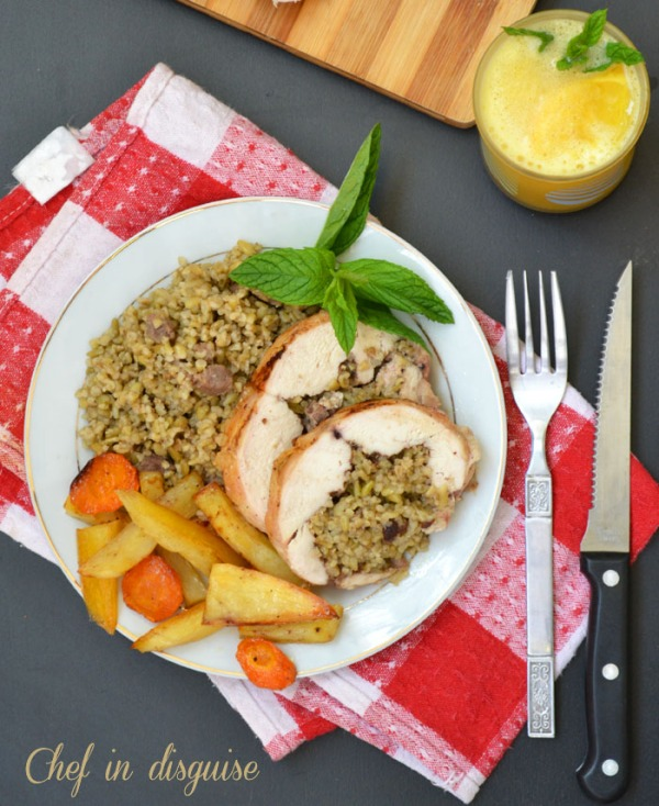chicken ballotine with freekeh