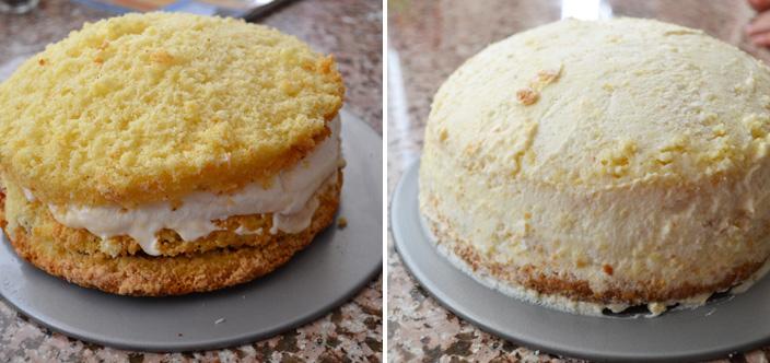 layering the princess cake