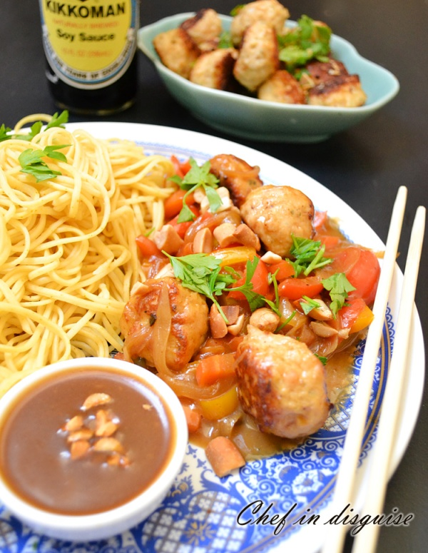 chickenmeatballs with sweet peanut butter sauce