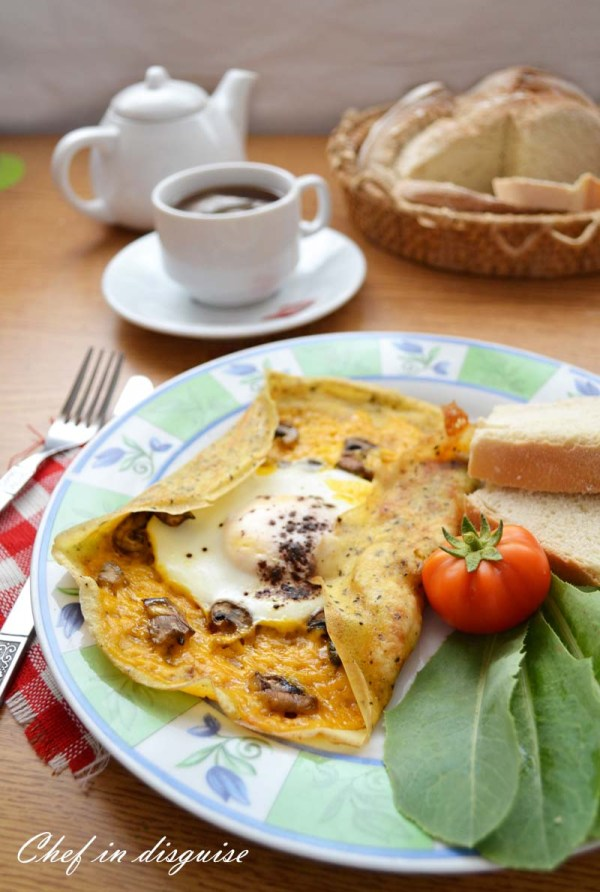 Cheddar, mushroom and egg filled crepes