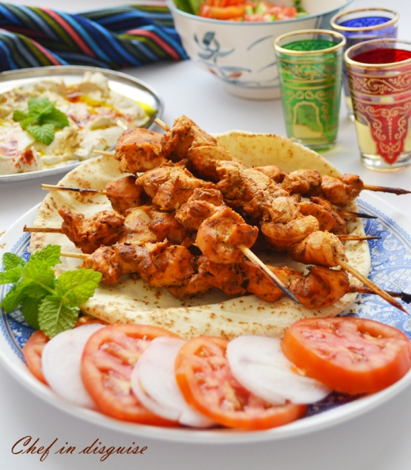 Chef in disguise:Chicken skewers (shish tawook)