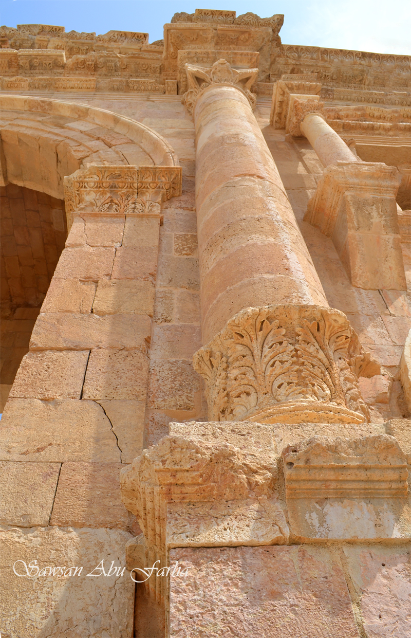 Acanthus leaves at the base, unique to Jerash