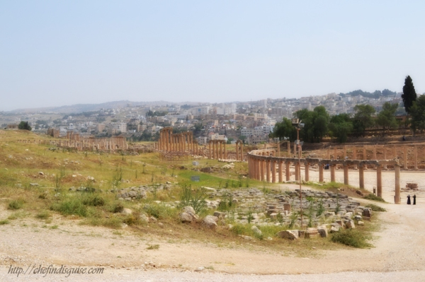 You can see the oval plaza on the right, and extending from it is the cardo maximus