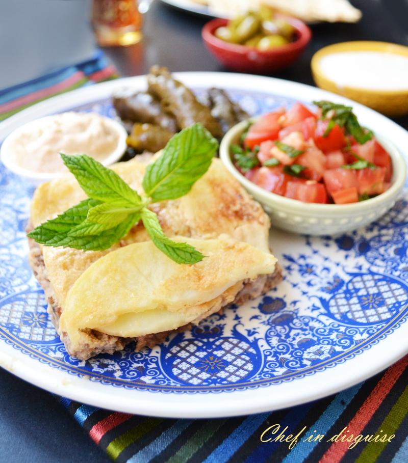 kofta with tahini sauce and potatoes