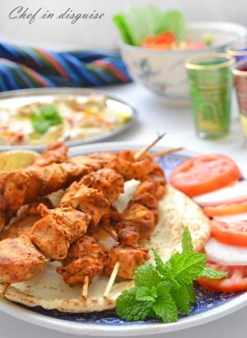 shish Tawook chicken skewers