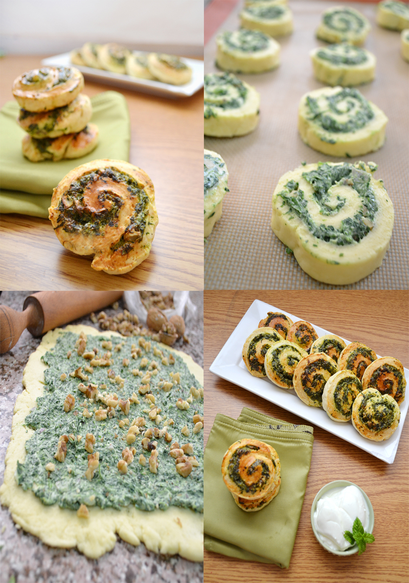 Spinach feta and herbs pinwheels