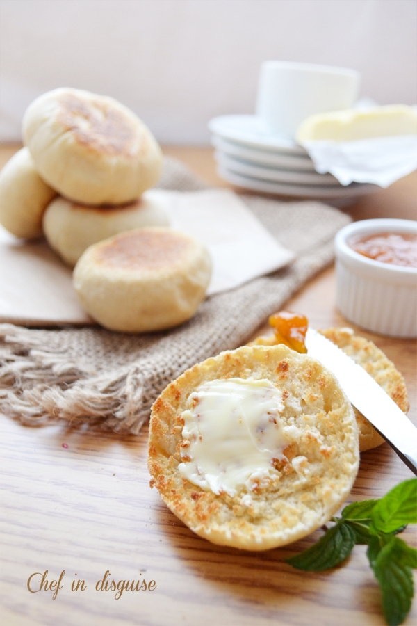 English muffins with butter and jam