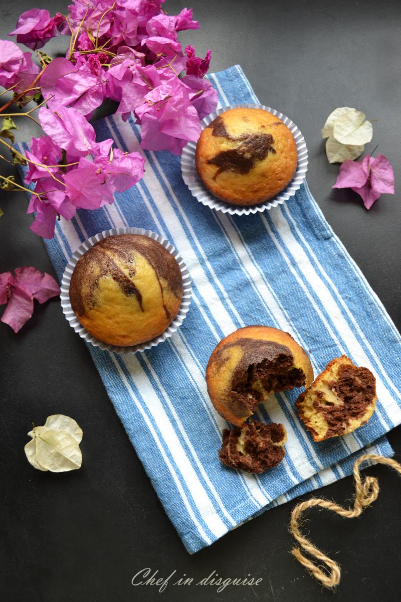 sourdough marble muffins
