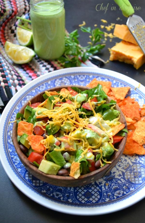 Southwestern salad with creamy parsley dressing