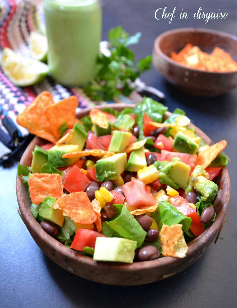 Southwestern salad with creamy parsley lime dressing