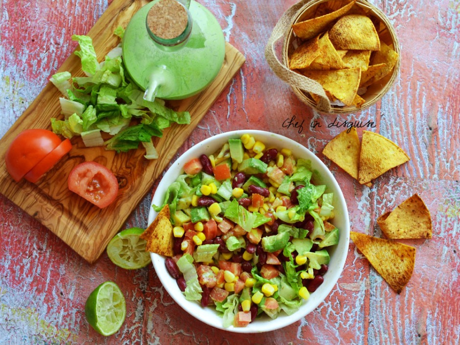Southwestern salad with oven baked tortilla chips