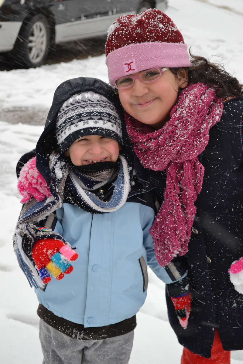 Jana and Ibrahim in the snow