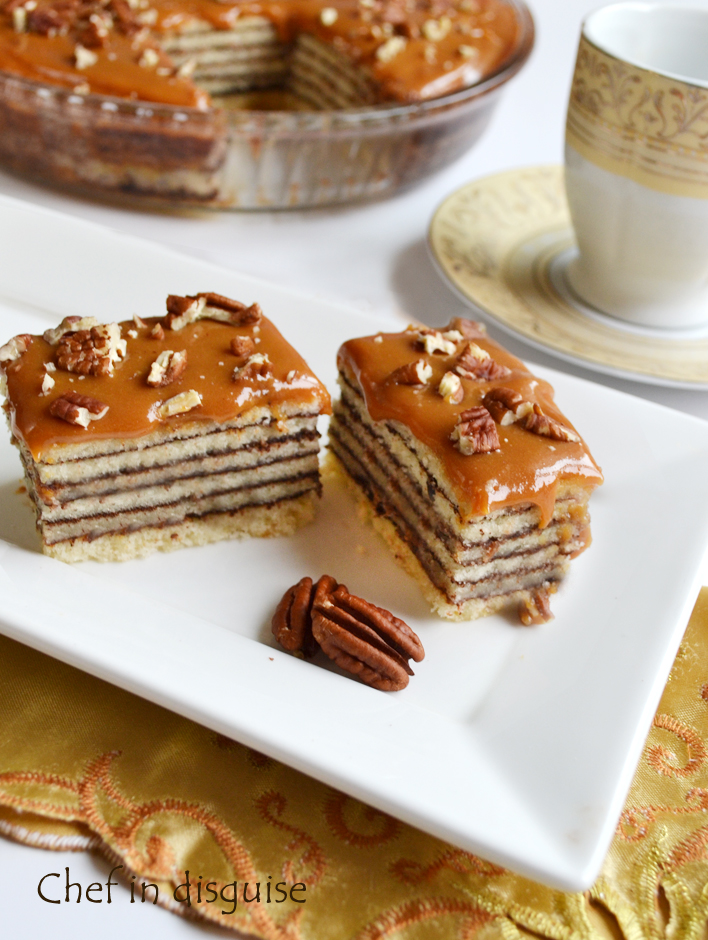 Layered cake with caramel frosting