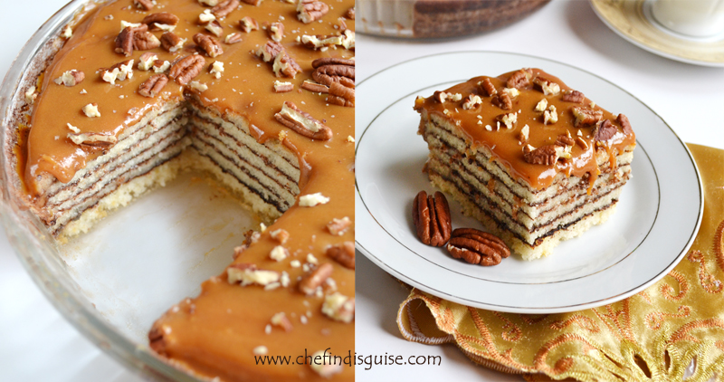 Layered cake with caramel sauce