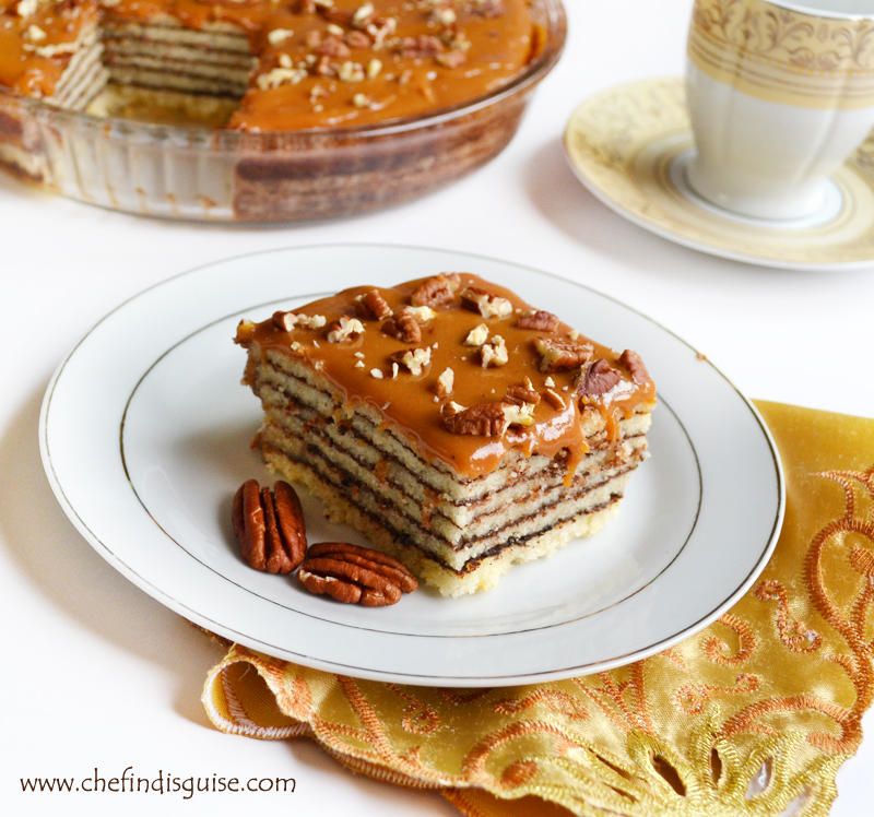 Layered cake with spiced chocolate and caramel frosting