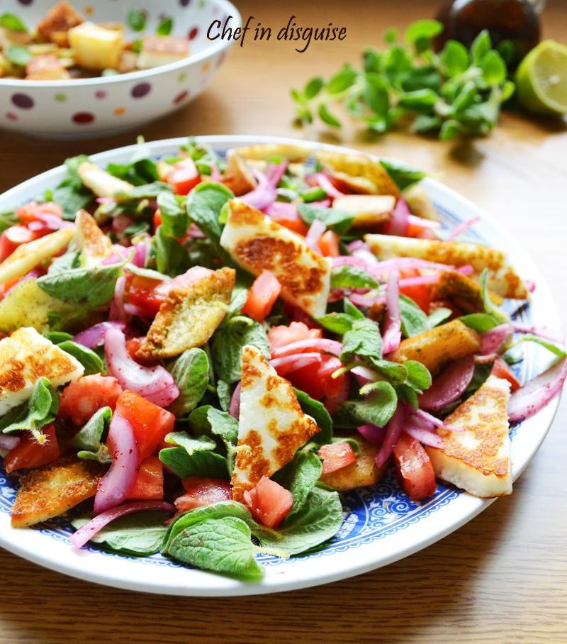 Girlled halloumi oregano salad