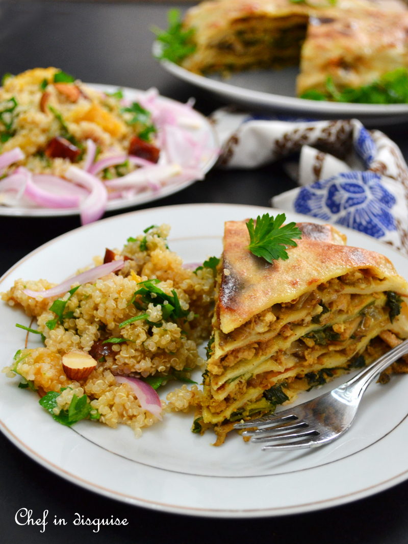 Chatti Pathiri: an Indian dish made out of layered crepes that are filled with a savory filling and then baked in coconut milk. It is like a lighter lasagna with an Indian twist