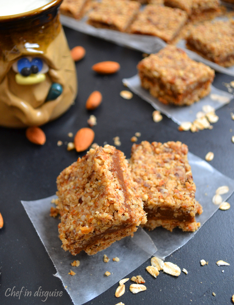 No bake vegan almond date bars chef in disguise for Bar food vegetarian