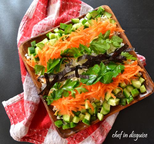 sushi salad with cauliflower rice