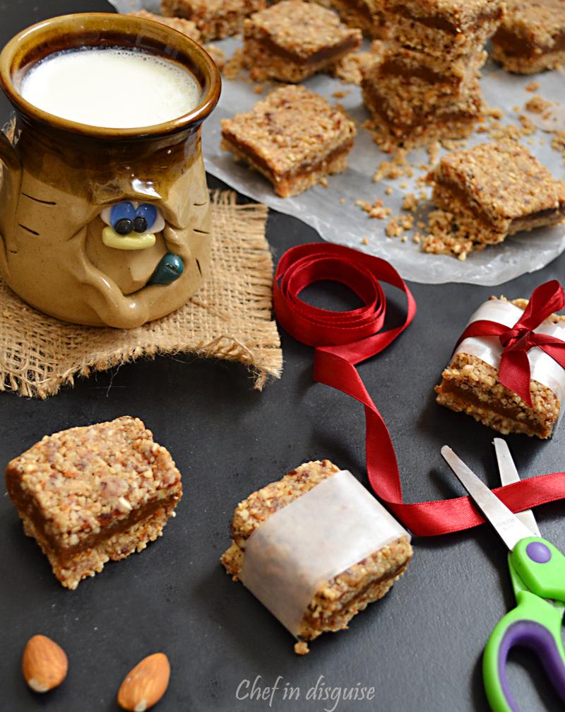 Vegan raw date nut and oatmeal bars