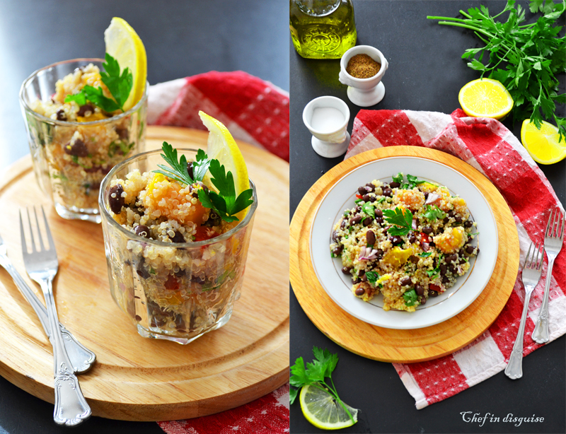Quinoa salad with black beans mango and cilantro