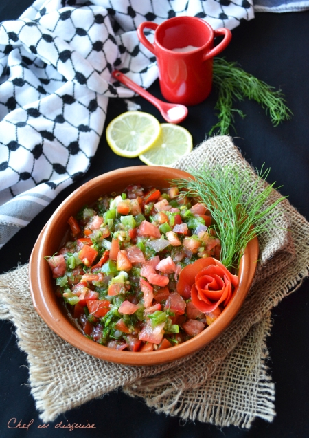 Gazan dakka (dill and pepper tomato salsa)