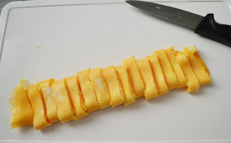 omlette cut into strips