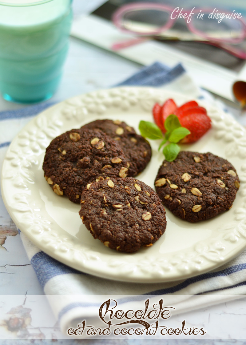 chocolate coconut oat cookies