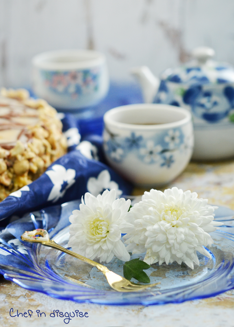 White and blue food styling