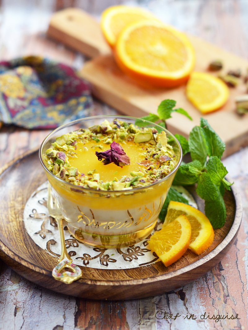 Rice pudding with orange  curd layer