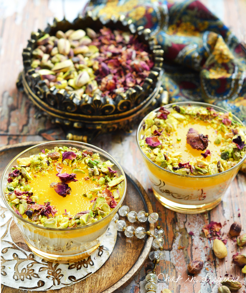 Rice pudding with orange curd topping