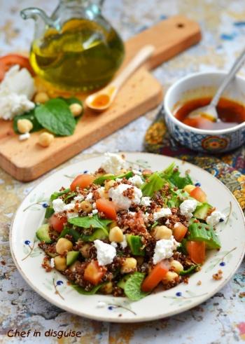Quinoa salad with mango and black beans and cilantro honey