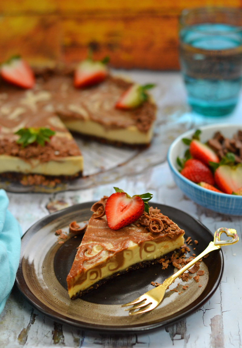 Raw chocolate swirl cheesecake. Simply heavenly