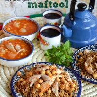"Maftoul ""Palestinian couscous"" with chicken and chickpeas"
