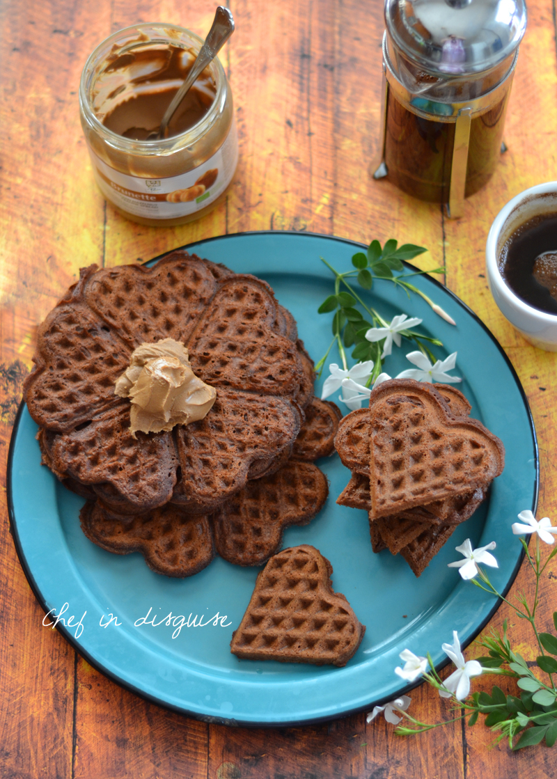 Homemade chocolate waffles