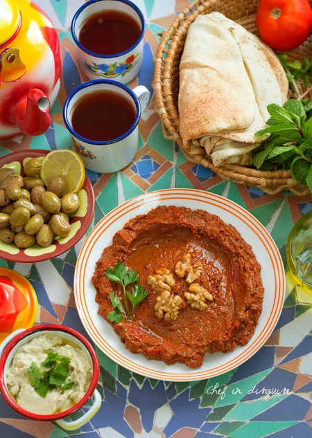 Aleppo muhammara , a wonderful roasted pepper dip from Aleppo, Syria. It is great with roasted meat or on its own as part of mezza