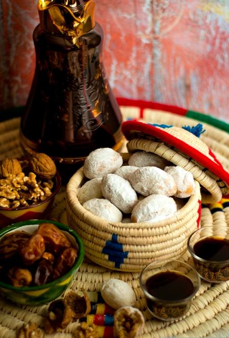 Baid al qata (kwaiti cookies stuffed with walnuts , seasoned with rosewater, cinnamon and saffron)