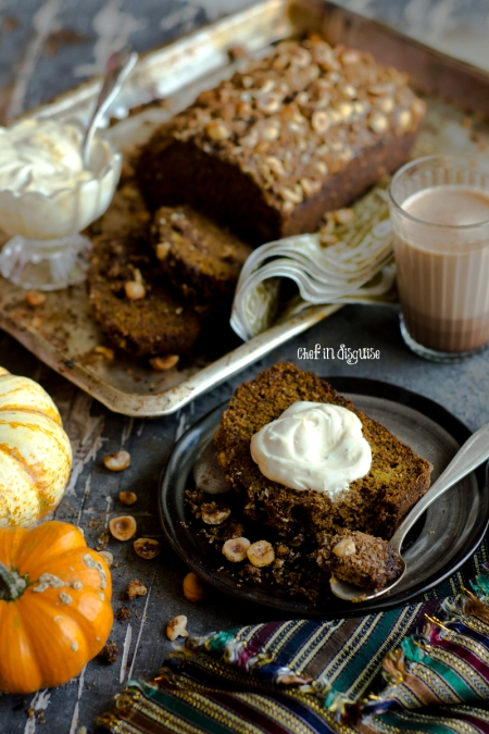 Espresso pumpkin loaf with hazelnut cinnamon topping. Yes!! it is as good as it sounds!!