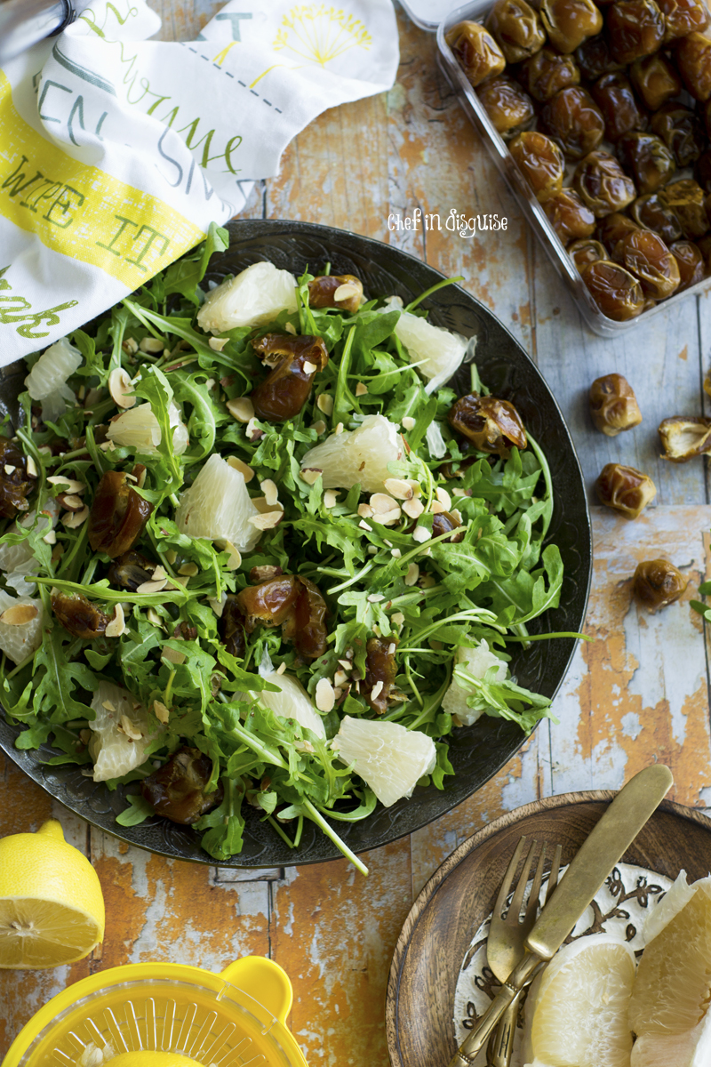 Pomelo salad with dates, arugula and toasted almonds with 3 salad dressing suggestions from chef in disguise