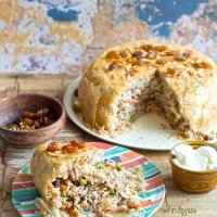 Parda plau (Pastry wrapped Iraqi rice, vegetables and chicken pilaf)