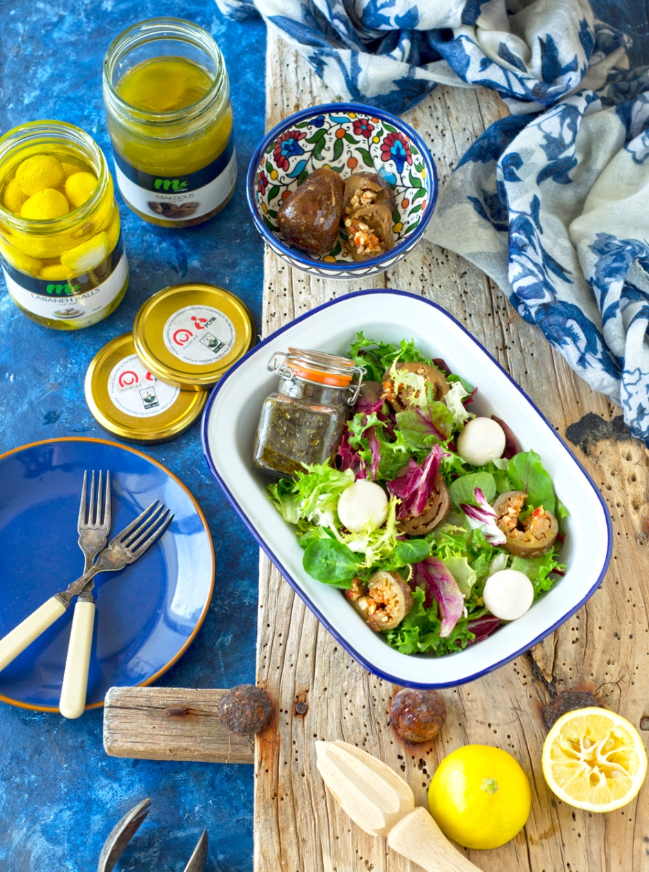 Tangy creamy and addictive. This labneh and makdous salad is the best way to enjoy the flavors of the middle east