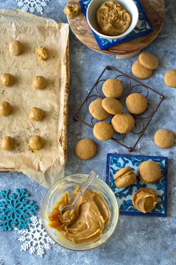 Soft, chewy and beautifully infused with spices. The only thing that can make these cookies more heavenly is the creamy tahini molasses filling
