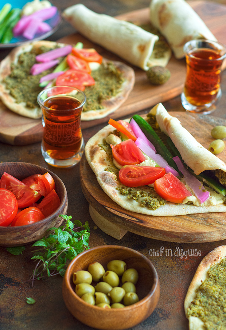 baked falafel wrap served with olives and tea.jpg
