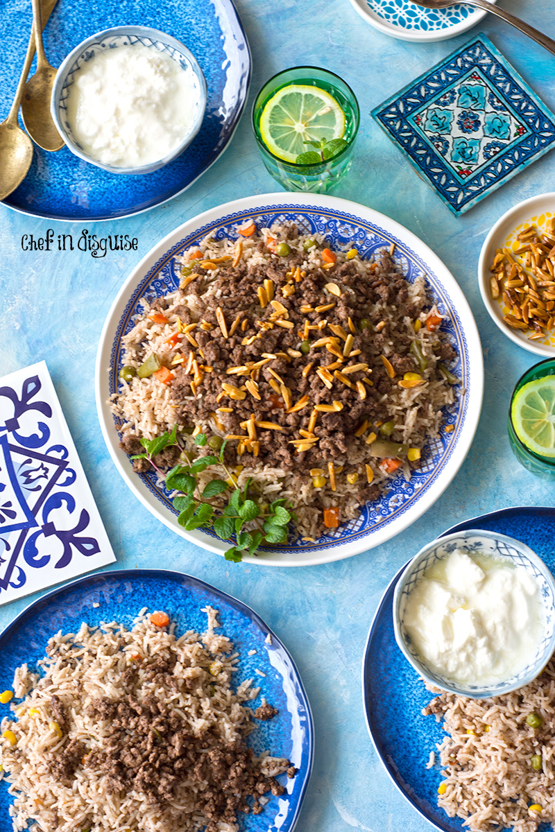 Mixed vegetable rice with middle eastern spices