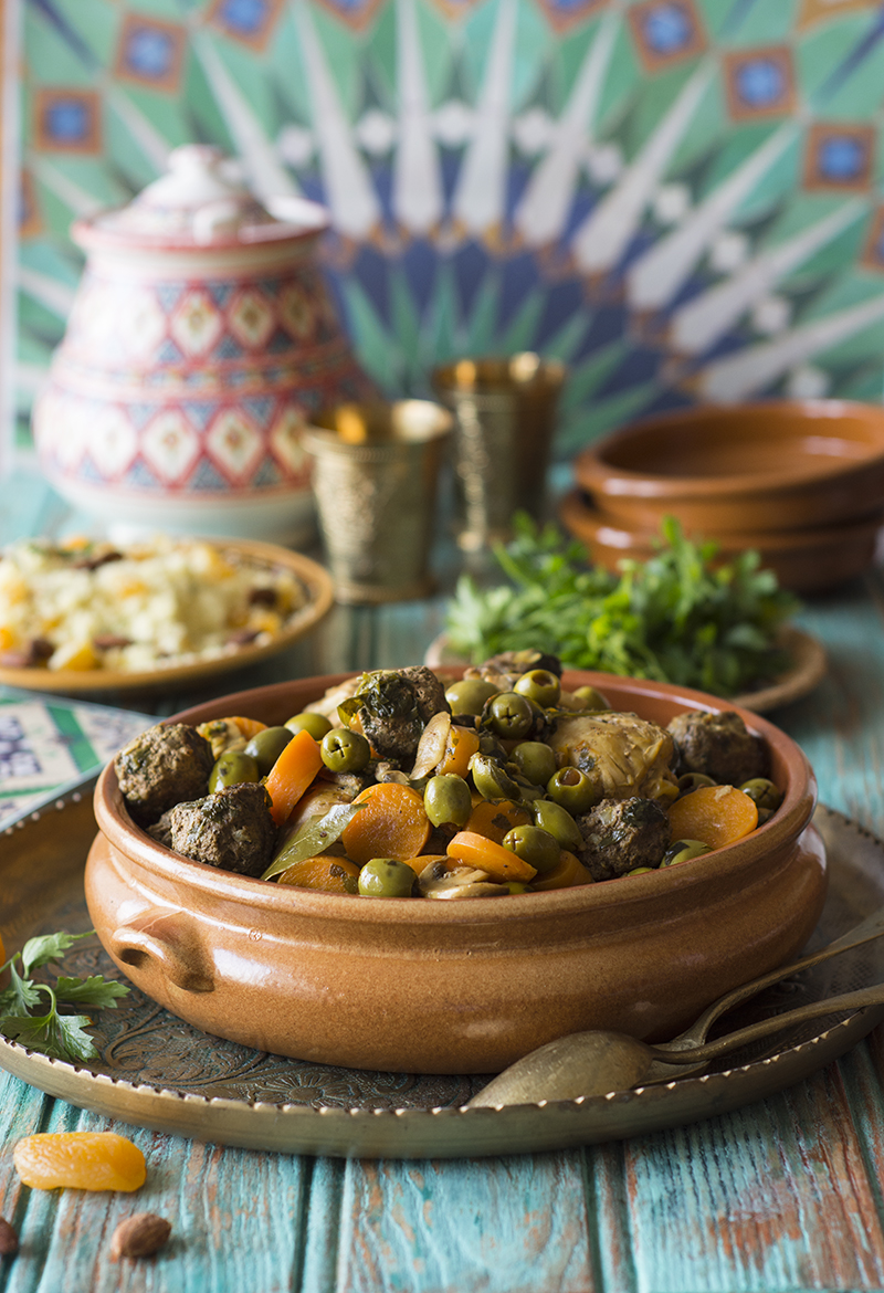 Algerian olive chicken and meatball tagineو  your taste bud's ticket to a whole new world.