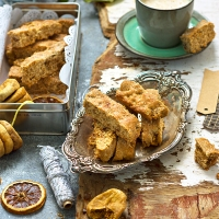 Orange scented dried fig and walnut bars