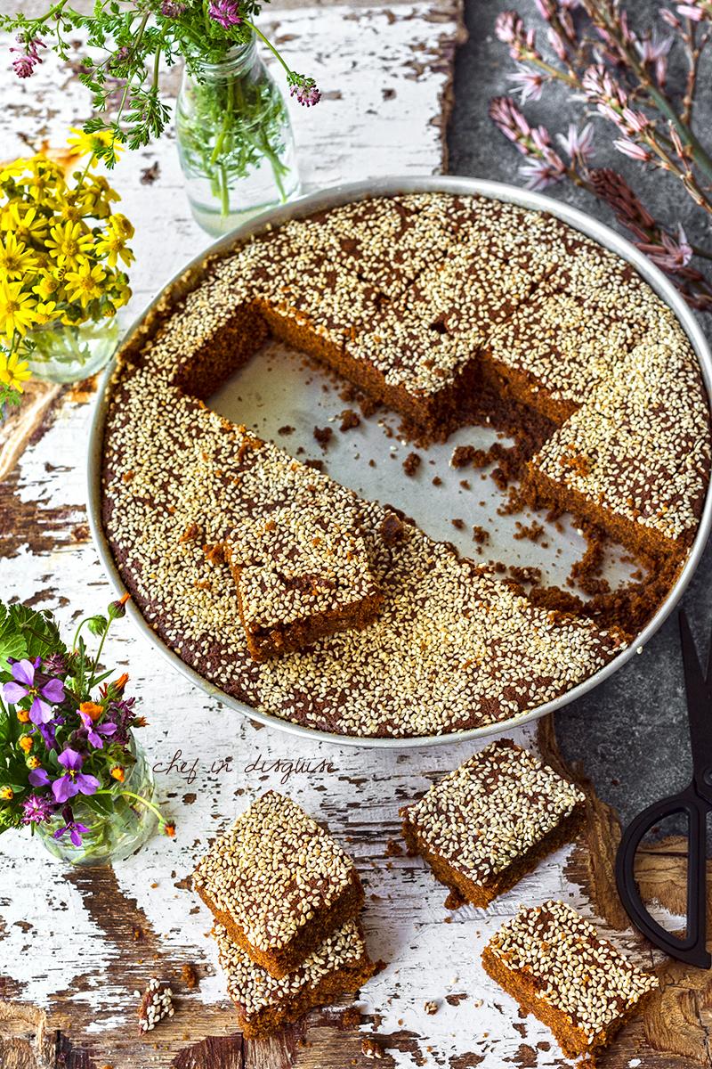 Lebanese carob molasses cake