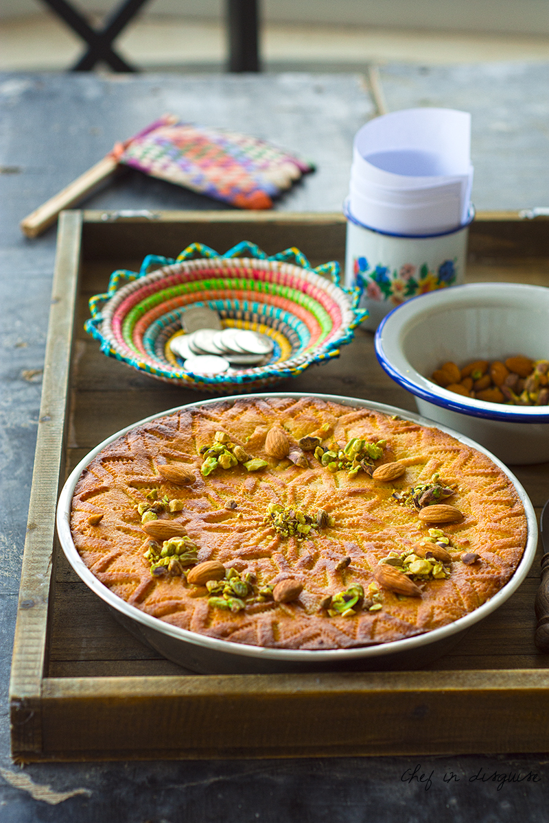 Dahdah, a Palestinian dessert made of layers of semolina ,coconut , cinnamon and nuts alternating in a beautiful pattern and heavenly combination of flavor.